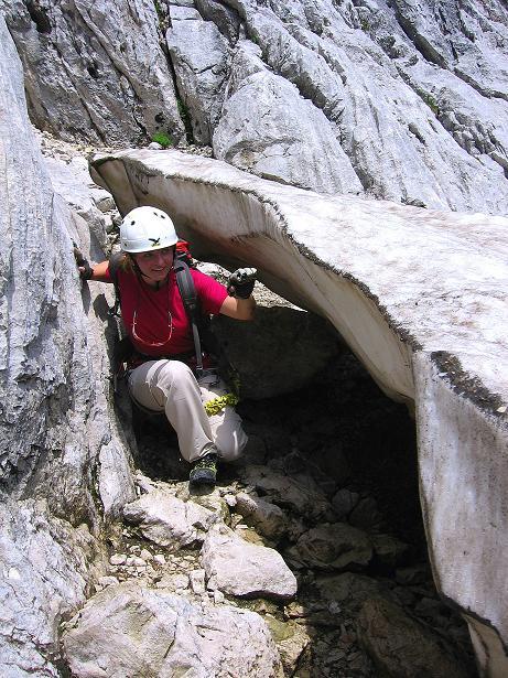 Foto: Andreas Koller / Klettersteig Tour / Alpspitze Ferrata und Überschreitung (2628m) / Schnee erschwert den Zustieg / 12.09.2008 15:49:19