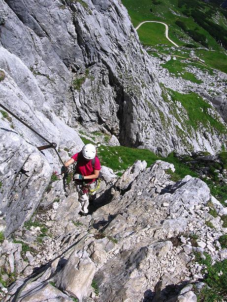 Foto: Andreas Koller / Klettersteig Tour / Alpspitze Ferrata und Überschreitung (2628m) / In einer Rinne / 12.09.2008 15:48:32