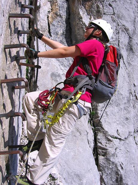 Foto: Andreas Koller / Klettersteig Tour / Alpspitze Ferrata und Überschreitung (2628m) / Steile Leiter / 12.09.2008 15:47:03