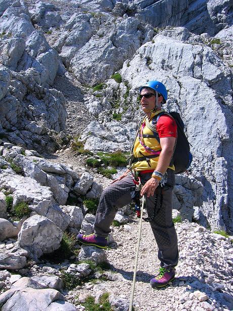 Foto: Andreas Koller / Klettersteig Tour / Alpspitze Ferrata und Überschreitung (2628m) / Der erste Steilaufschwung ist geschafft. / 12.09.2008 15:46:51