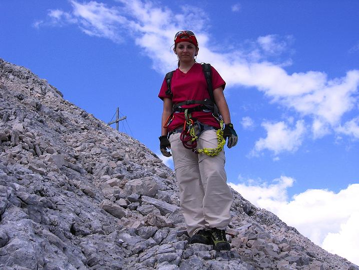 Foto: Andreas Koller / Klettersteig Tour / Alpspitze Ferrata und Überschreitung (2628m) / Abstieg über die schuttige O-Flanke / 12.09.2008 15:40:48