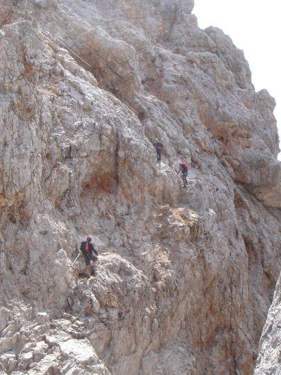 Foto: Manfred Karl / Klettersteig Tour / Via ferrata Marino Bianchi / Quergang nach der zweiten Abstiegsstelle / 13.09.2008 15:00:58