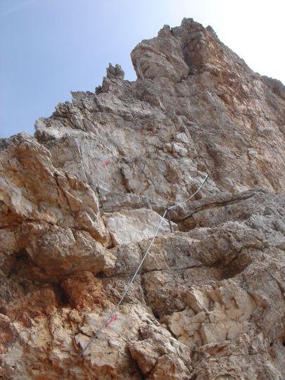 Foto: Manfred Karl / Klettersteig Tour / Via ferrata Marino Bianchi / Am Beginn des Steilaufschwunges (kann über rechts umgangen werden) / 13.09.2008 14:59:40