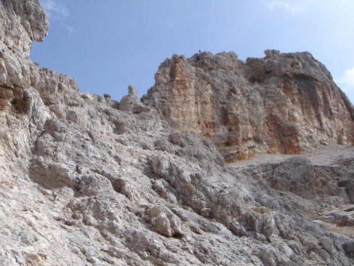 Foto: Manfred Karl / Klettersteig Tour / Via ferrata Marino Bianchi / Blick auf den Steilaufschwung des Klettersteiges / 13.09.2008 14:51:03