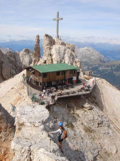 Foto: Manfred Karl / Klettersteig Tour / Via ferrata Marino Bianchi / Die letzten Meter des Klettersteiges vor der Hütte / 13.09.2008 14:49:51