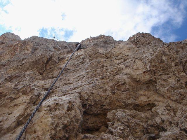 Foto: Manfred Karl / Klettersteig Tour / Laurenzisteig auf den Mittleren Molignon / Abstieg in der D-Stelle, auch hier sind die Seile nicht wirklich straff gespannt / 14.09.2008 11:29:03