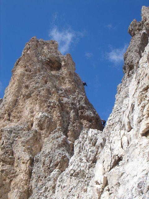 Foto: Manfred Karl / Klettersteig Tour / Laurenzisteig auf den Mittleren Molignon / In der D-Stelle am Grat / 14.09.2008 11:27:10