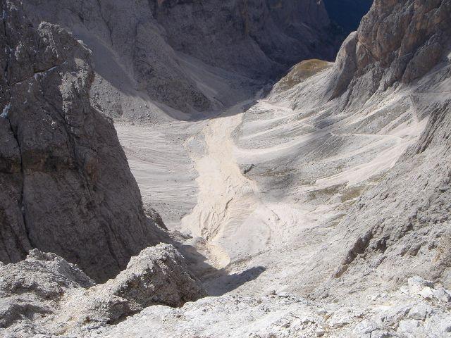 Foto: Manfred Karl / Klettersteig Tour / Laurenzisteig auf den Mittleren Molignon / Tiefblick ins oberste Grasleitental / 14.09.2008 11:24:23