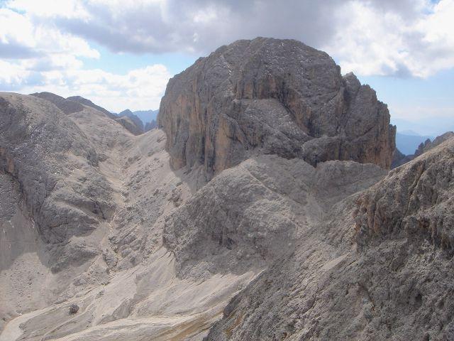 Foto: Manfred Karl / Klettersteig Tour / Laurenzisteig auf den Mittleren Molignon / Antermoiapass und Kesselkogel-Ostseite vom Molignon / 14.09.2008 11:22:22