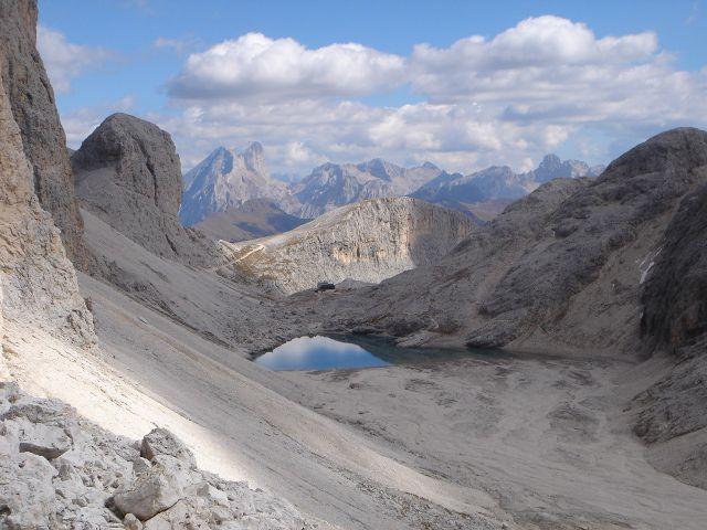 Foto: Manfred Karl / Klettersteig Tour / Laurenzisteig auf den Mittleren Molignon / Antermoiasee und -hütte / 14.09.2008 11:17:26