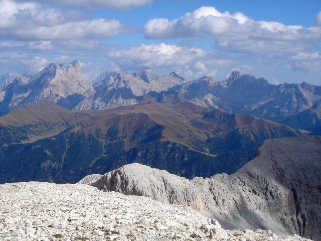 Foto: Manfred Karl / Klettersteig Tour / Laurenzisteig auf den Mittleren Molignon / Blick von der Cima de Laussa zur Marmolada / 14.09.2008 11:13:48