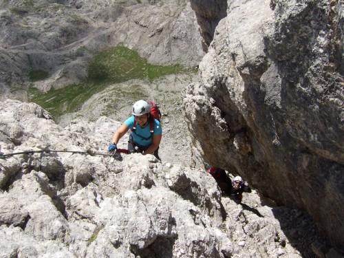 Foto: hofchri / Klettersteig Tour / Via ferrata Piz da Lech / enger Felsspalt / 03.10.2009 18:27:14