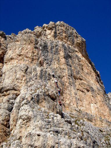 Foto: Manfred Karl / Klettersteig Tour / Via ferrata Piz da Lech / Die beiden Leitern kurz unterhalb des Ausstieges / 14.09.2008 19:13:35