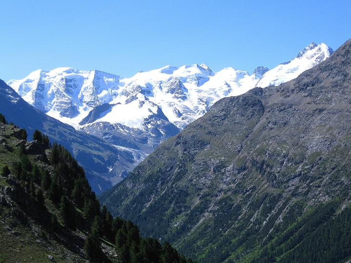 Foto: Andreas Koller / Wander Tour / Piz Languard (3262m) - Bernina-Aussichtsloge  / Die Berninagruppe von der Alp Languard / 14.09.2008 17:14:18