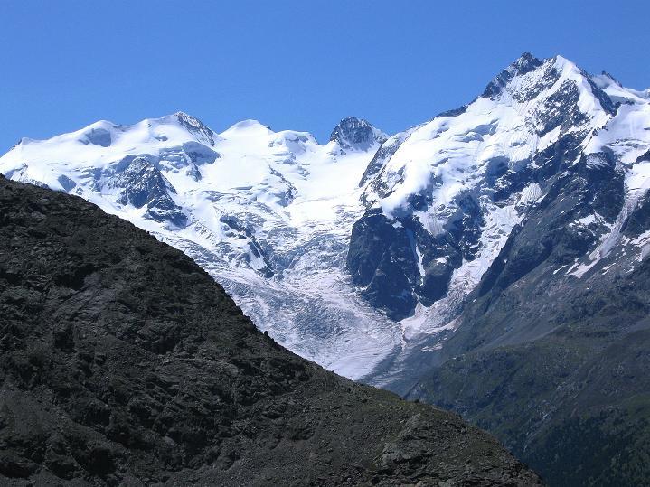 Foto: Andreas Koller / Wander Tour / Piz Languard (3262m) - Bernina-Aussichtsloge  / Berninagruppe mit Piz Bernina (4049 m) und Morteratschgletscher / 14.09.2008 17:12:12