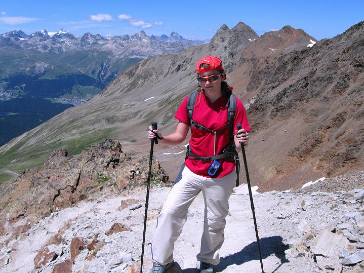 Foto: Andreas Koller / Wander Tour / Piz Languard (3262m) - Bernina-Aussichtsloge  / Aufstieg mit Blick zum Piz Julier (3388 m) / 14.09.2008 17:10:01