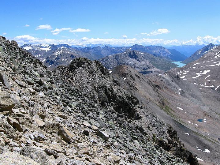 Foto: Andreas Koller / Wander Tour / Piz Languard (3262m) - Bernina-Aussichtsloge  / Blick nach O zum Berninapass & in die Livigno Alpen / 14.09.2008 17:09:35