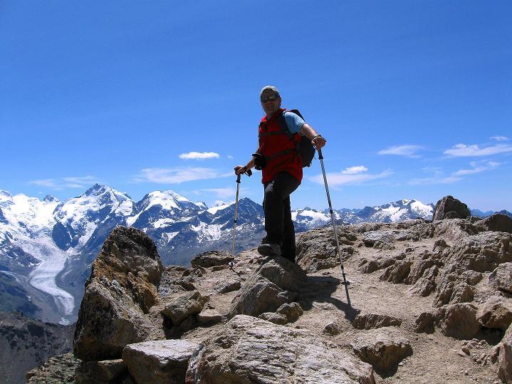 Foto: Andreas Koller / Wander Tour / Piz Languard (3262m) - Bernina-Aussichtsloge  / Gipfel mit großartiger Aussicht in die Bernina Eiswelt / 14.09.2008 17:06:34