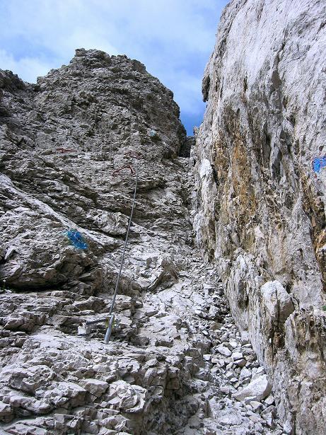 Foto: Andreas Koller / Klettersteig Tour / Klettersteig Ari Schübel (2772 m) / Rinne auf der Kleinen Sandspitze / 14.09.2008 17:51:28