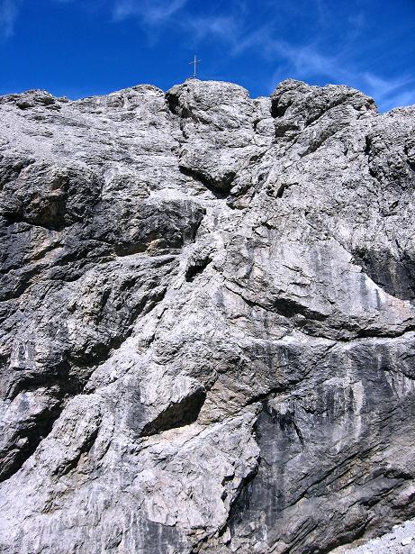 Foto: Andreas Koller / Klettersteig Tour / Klettersteig Ari Schübel (2772 m) / Die Schlüsselstelle: in der Bildmitte von rechts das mehr oder weniger ausgeprägte Band / 14.09.2008 17:44:17