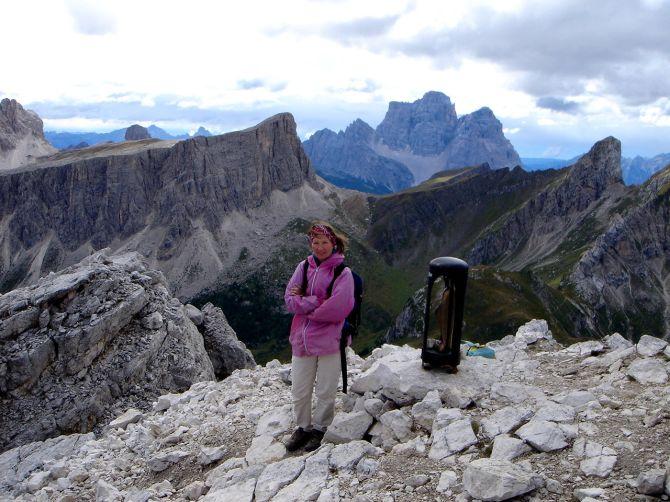 Foto: Manfred Karl / Klettersteig Tour / Via ferrata Ra Gusela / Auf der Gusela mit dem Pelmo im Hintergrund / 14.09.2008 21:06:06