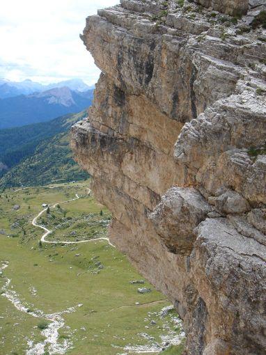 Foto: Manfred Karl / Klettersteig Tour / Via ferrata Ra Gusela / Einstieg in die Steilstufe der Abkürzung / 14.09.2008 21:00:38