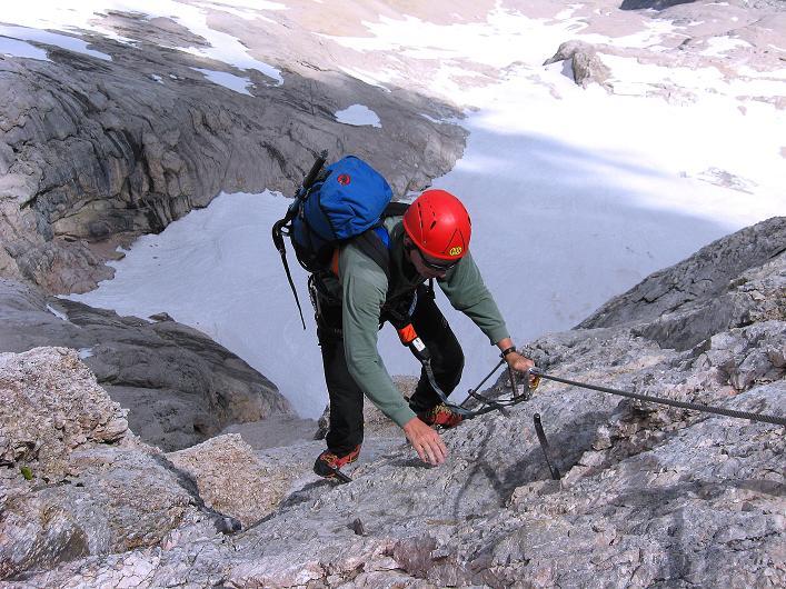 Foto: Andreas Koller / Klettersteig Tour / Marmolada (3343m) - Westgrat Klettersteig (Hans Seyffert Weg) / W-Grat Platten / 18.09.2008 00:32:00