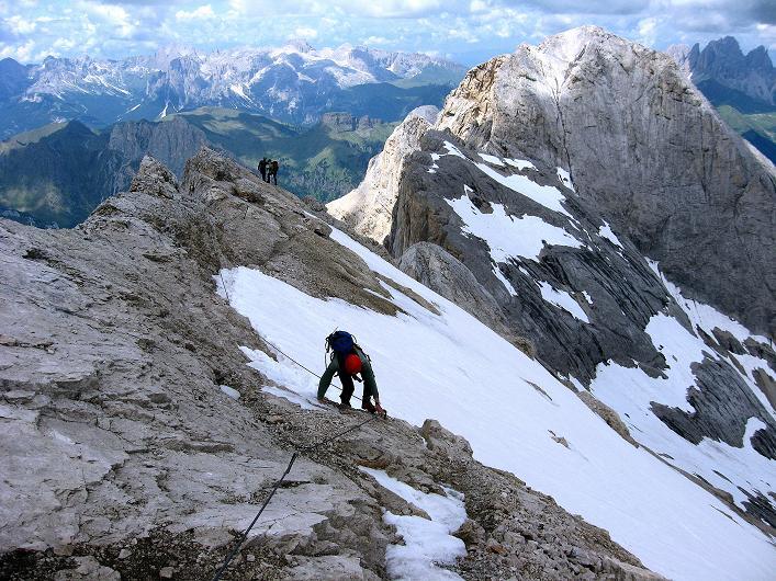 Foto: Andreas Koller / Klettersteig Tour / Marmolada (3343m) - Westgrat Klettersteig (Hans Seyffert Weg) / Am oberen W-Grat / 18.09.2008 00:30:25