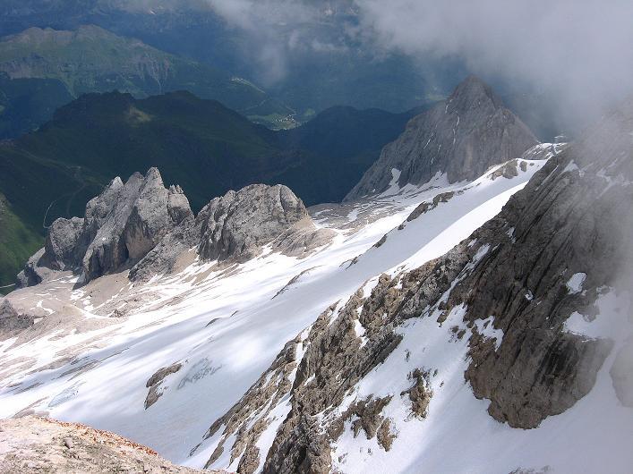 Foto: Andreas Koller / Klettersteig Tour / Marmolada (3343m) - Westgrat Klettersteig (Hans Seyffert Weg) / Blick auf den O-Grat / 18.09.2008 00:29:28