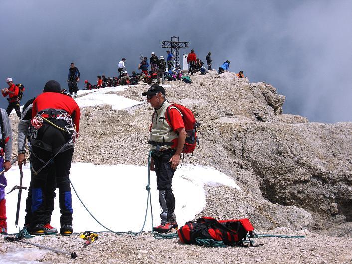 Foto: Andreas Koller / Klettersteig Tour / Marmolada (3343m) - Westgrat Klettersteig (Hans Seyffert Weg) / Der Gipfelbereich / 18.09.2008 00:27:33