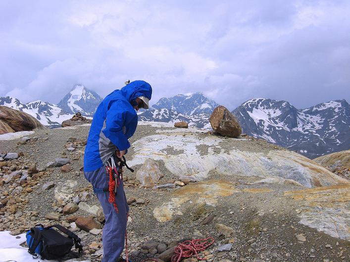 Foto: Andreas Koller / Wander Tour / Aus dem Martelltal auf die Köllkuppe (3330m)  / Anseilen vorm Hohenferner / 18.09.2008 21:35:32