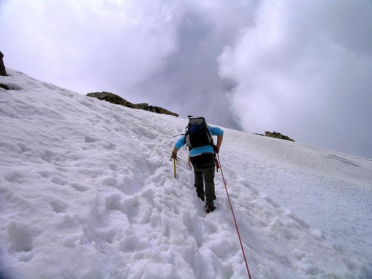Foto: Andreas Koller / Wander Tour / Aus dem Martelltal auf die Köllkuppe (3330m)  / Steiler Anstieg in die Scharte im SW-Grat / 18.09.2008 21:32:10
