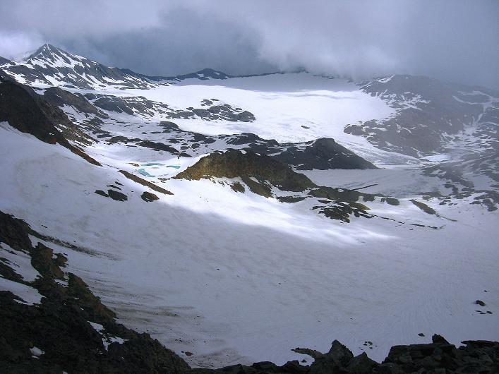 Foto: Andreas Koller / Wander Tour / Aus dem Martelltal auf die Köllkuppe (3330m)  / Blick in das Gletscherbecken des Vadretta di Careser / 18.09.2008 21:31:09