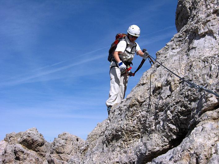 Foto: Andreas Koller / Klettersteig Tour / Ferrata Marino Bianchi - Cristallo di Mezzo (3167 m) / Sehr exponierte Passage / 23.09.2008 01:36:41