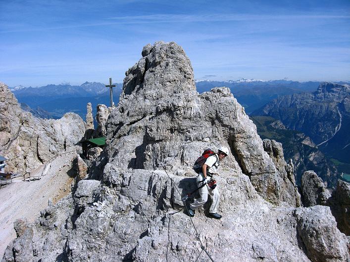 Foto: Andreas Koller / Klettersteig Tour / Ferrata Marino Bianchi - Cristallo di Mezzo (3167 m) / Kurz nach dem Rif. Guido Lorenzi / 23.09.2008 01:36:20