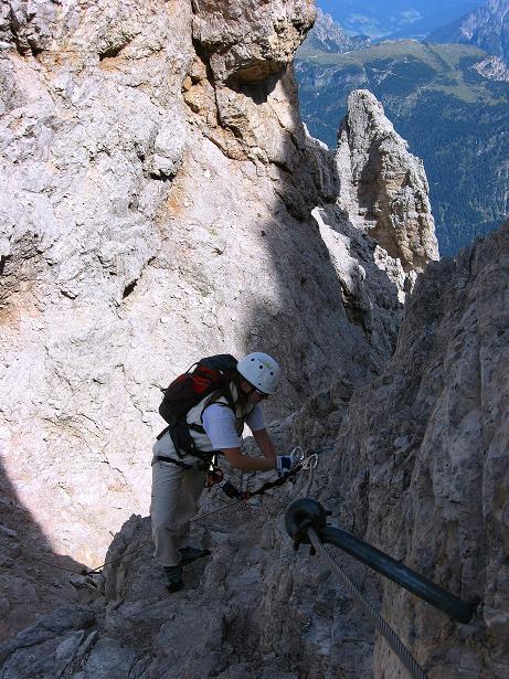 Foto: Andreas Koller / Klettersteig Tour / Ferrata Marino Bianchi - Cristallo di Mezzo (3167 m) / Licht und Schatten auf der Ferrata Marino Bianchi / 23.09.2008 01:34:41