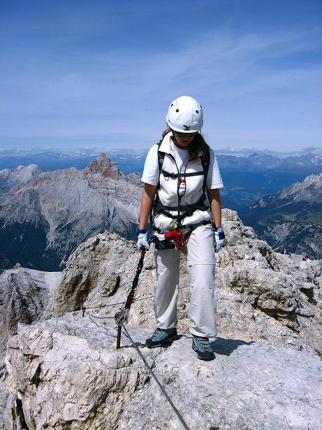 Foto: Andreas Koller / Klettersteig Tour / Ferrata Marino Bianchi - Cristallo di Mezzo (3167 m) / Am luftigen Grat / 23.09.2008 01:30:07