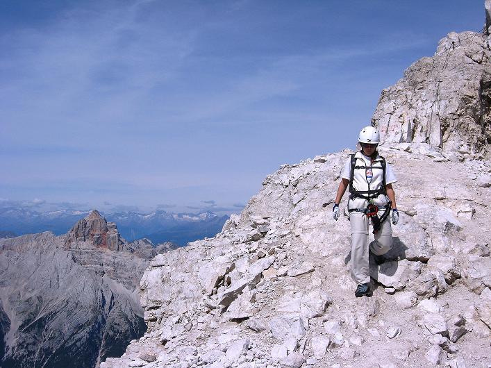 Foto: Andreas Koller / Klettersteig Tour / Ferrata Marino Bianchi - Cristallo di Mezzo (3167 m) / Die letzten Meter zum Gipfel / 23.09.2008 01:28:57