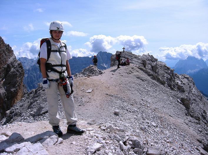 Foto: Andreas Koller / Klettersteig Tour / Ferrata Marino Bianchi - Cristallo di Mezzo (3167 m) / Am Gipfel bereit zum Abstieg / 23.09.2008 01:24:59