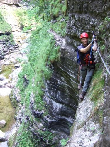 Foto: hofchri / Klettersteig Tour / Klettersteig durch die Postalmklamm / viele Trittstiften (auch beschädigte) im Steigverlauf / 22.02.2009 20:49:25