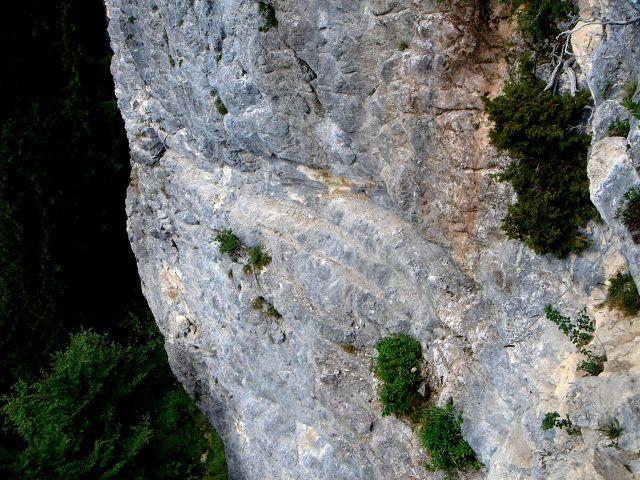 Foto: Manfred Karl / Klettersteig Tour / Klettersteig durch die Postalmklamm / Der lange Quergang in der Gamsleckenwand / 23.09.2008 17:23:55