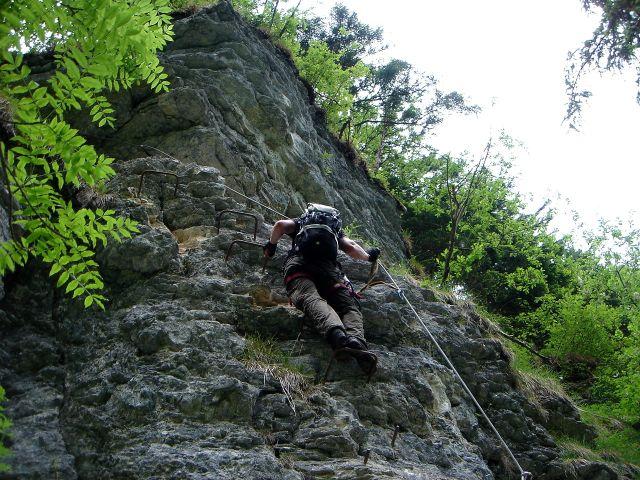 Foto: Manfred Karl / Klettersteig Tour / Klettersteig durch die Postalmklamm / Steilstufe oberhalb der Schlucht / 23.09.2008 17:26:02