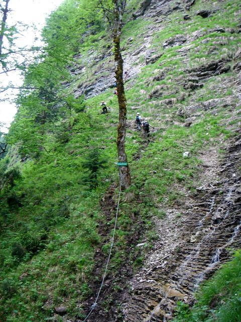 Foto: Manfred Karl / Klettersteig Tour / Klettersteig durch die Postalmklamm / Wasser ist überall vorhanden / 23.09.2008 17:26:41