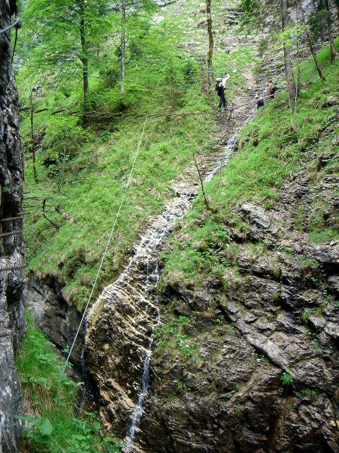 Foto: Manfred Karl / Klettersteig Tour / Klettersteig durch die Postalmklamm / Ehemalige Wasserfallbrücke / 23.09.2008 17:27:33