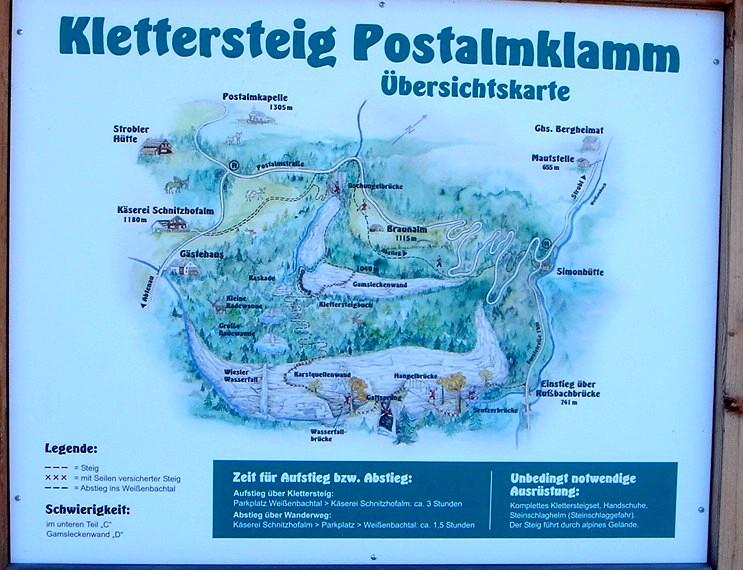 Foto: Manfred Karl / Klettersteig Tour / Klettersteig durch die Postalmklamm / Infotafel bei der Rußbachbrücke / 23.09.2008 17:35:07