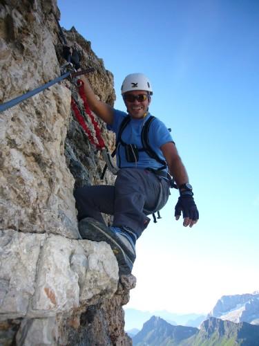 Foto: hofchri / Klettersteig Tour / Piz Boè (3152m), Via ferrata Cesare Piazzetta / senkrechte Passagen / 03.10.2009 18:33:38