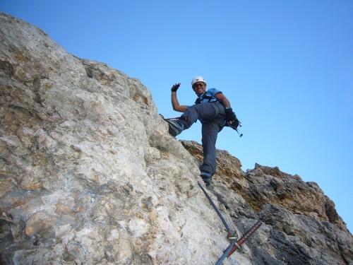 Foto: hofchri / Klettersteig Tour / Piz Boè (3152m), Via ferrata Cesare Piazzetta / die letzten schwierigeren Aufschwünge / 03.10.2009 18:35:28