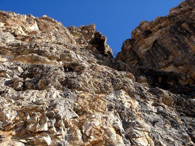 Foto: Manfred Karl / Klettersteig Tour / Piz Boè (3152m), Via ferrata Cesare Piazzetta / Bis zur Hängebrücke ist der schwierigste Teil des Steiges / 23.09.2008 19:27:02