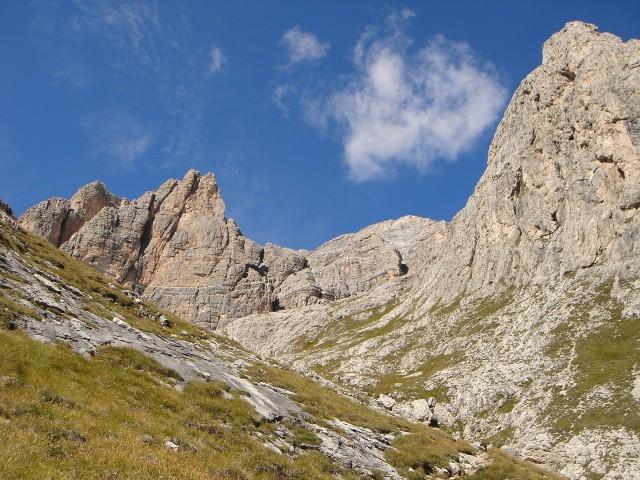 Foto: Manfred Karl / Klettersteig Tour / Piz Boè (3152m), Via ferrata Cesare Piazzetta / Rückblick zum Boè / 23.09.2008 19:10:08