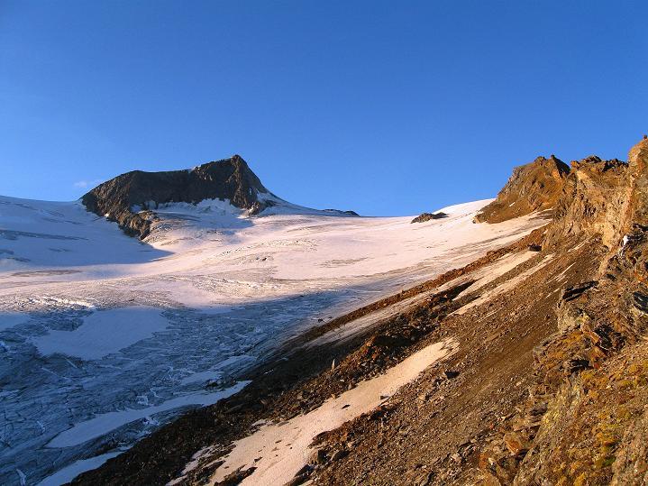 Foto: Andreas Koller / Wander Tour / Schwarze Wand und Hoher Zaun - stille Gipfeltour vom Defregger Haus (3507 m) / Rainerhorn (3560 m) und Rainerkees bei Sonnenuntergang / 24.09.2008 00:03:19